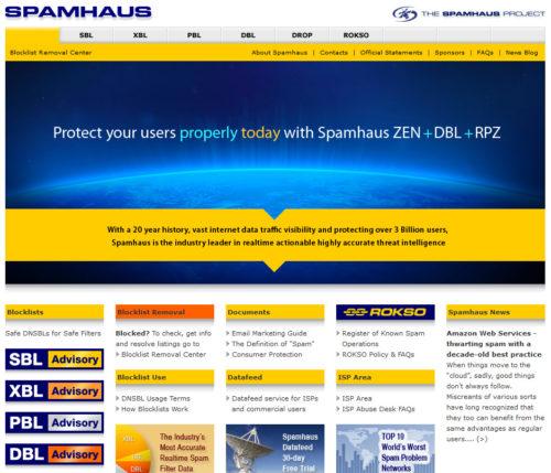 SPAMHAUSのトップページ