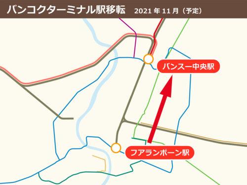 フアランポーン駅とバンスー中央駅の地図